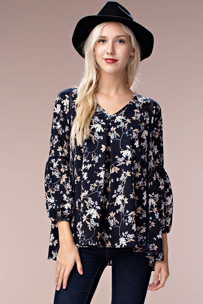 Floral Printed V Neck Shirt - orangeshine.com