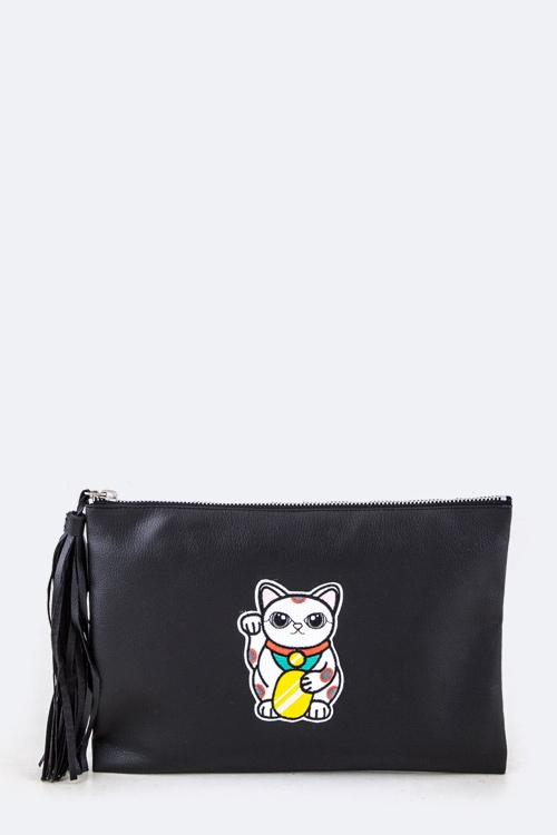 Lucky Cat Soft Tassel Clutch - orangeshine.com