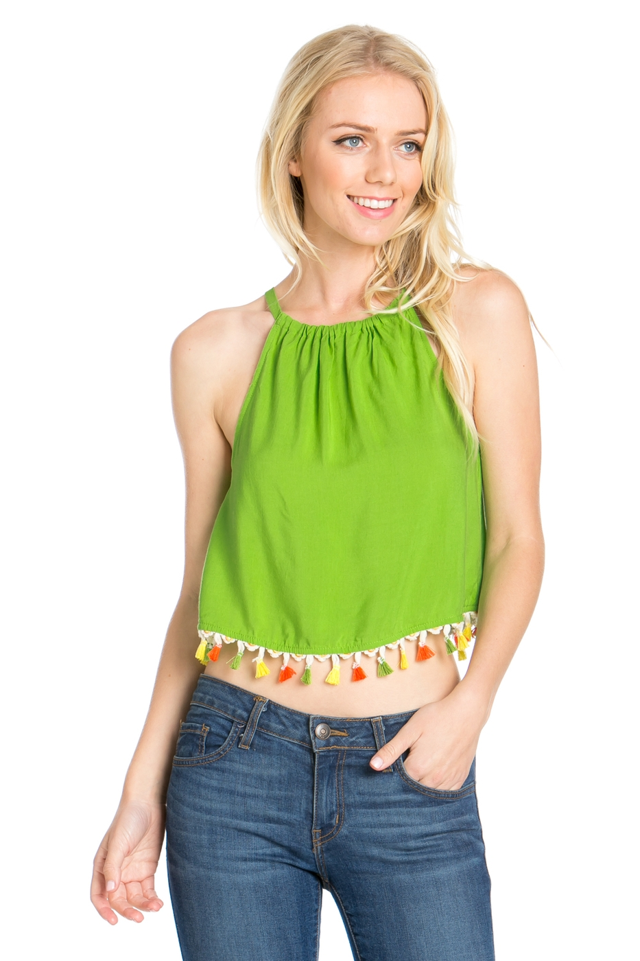 SOLID SLEEVELESS TASSEL CROP TOP - orangeshine.com