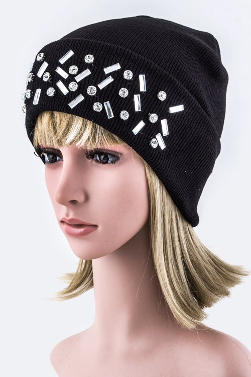 Mix Crystals Beanie Hat - orangeshine.com