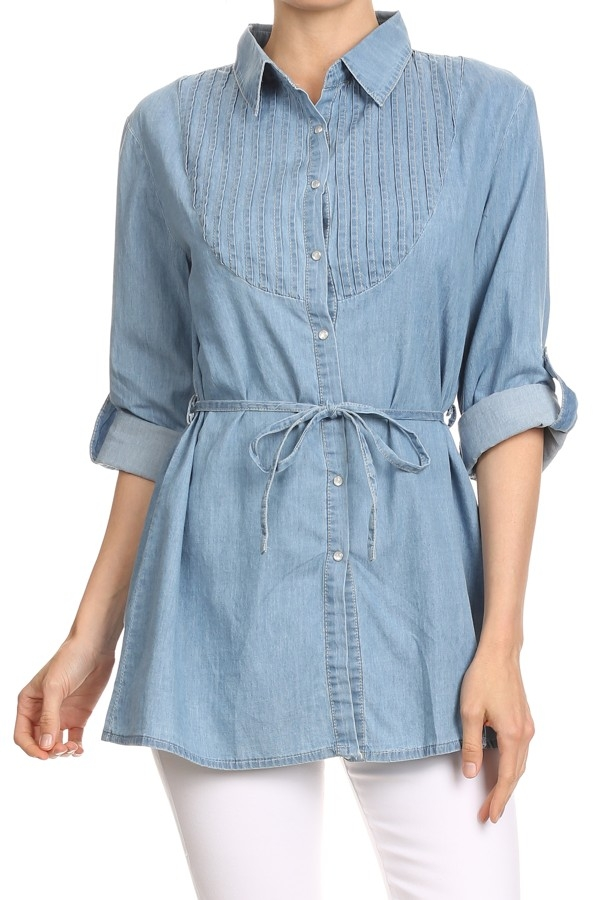 LIGHT BLUE DENIM SHIRT TUNIC - orangeshine.com