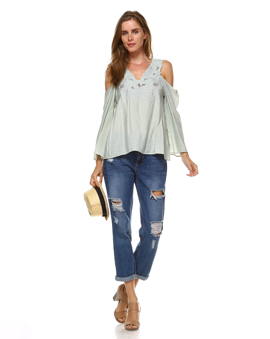 COLD SHOULDER TOP WITH EMBROIDERY  - orangeshine.com