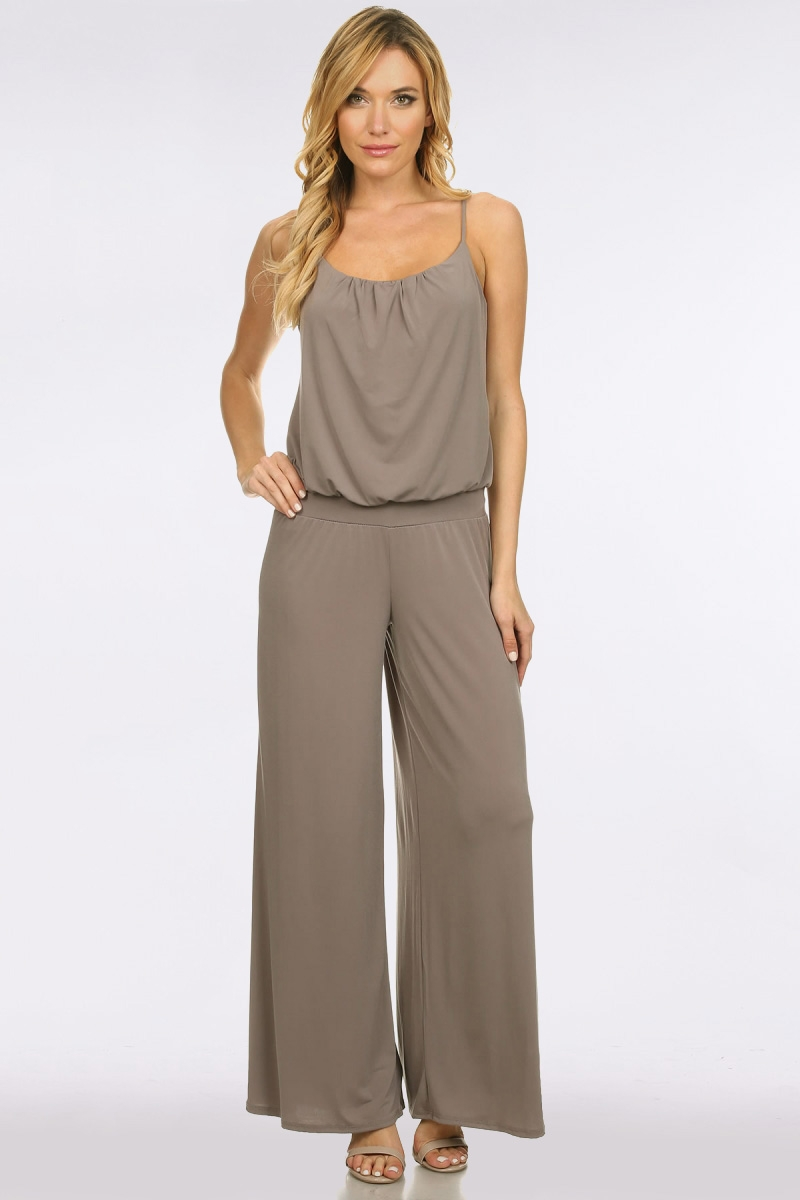 SOLID BANDED WAIST ITY JUMPSUIT - orangeshine.com