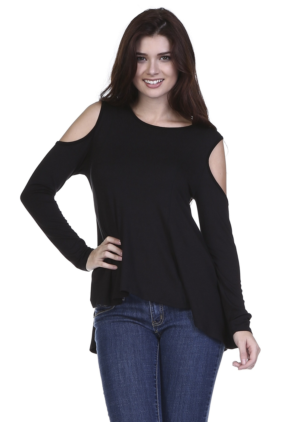 COLD SHOULDER LONG SLEEVE TOP - orangeshine.com