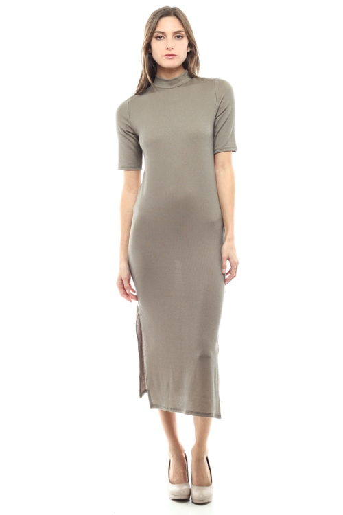 MOCK NECK SIDE SLIT  DRESS - orangeshine.com