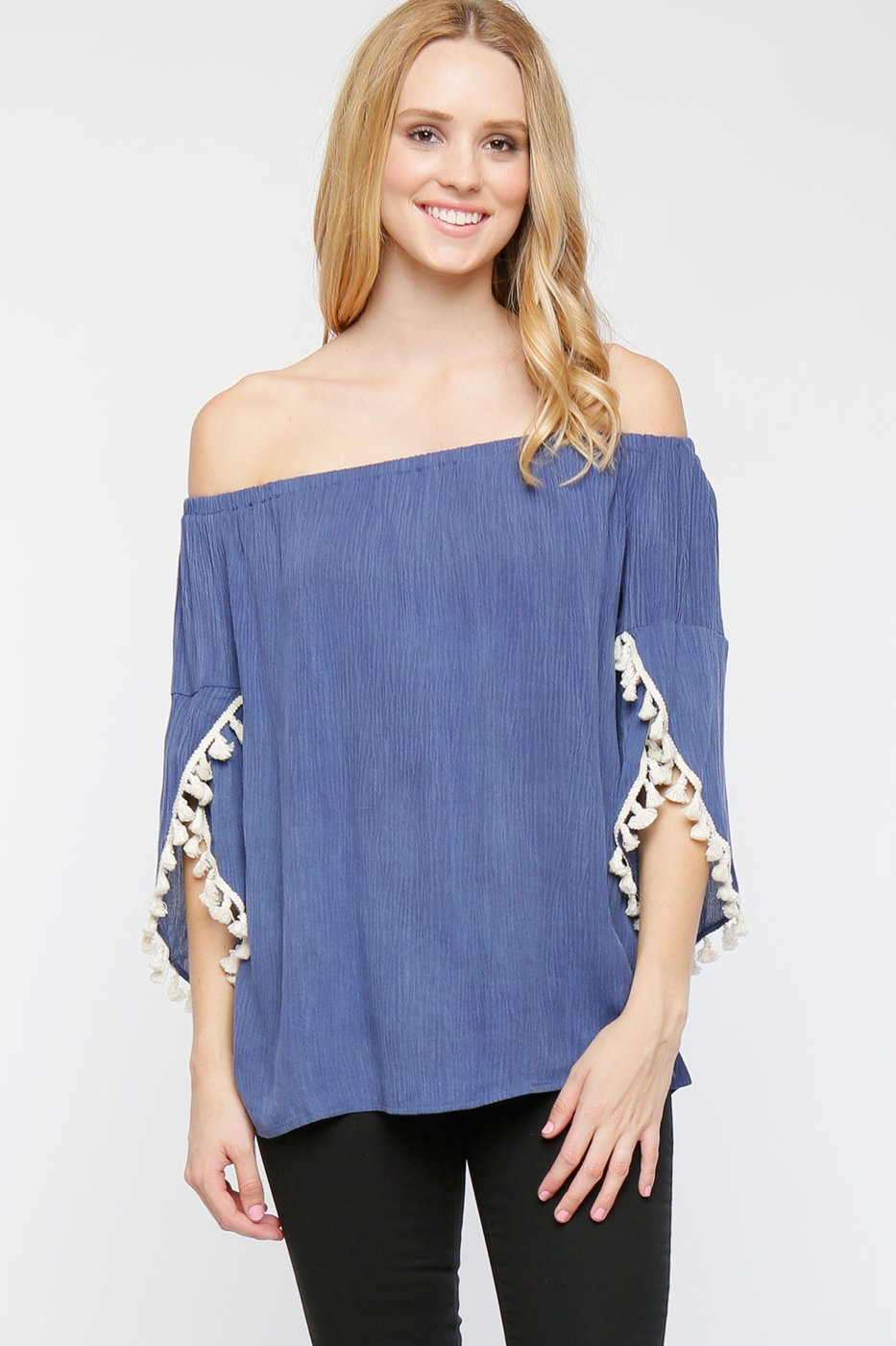 Crepe Mineral Wash Off Shoulder Top - orangeshine.com