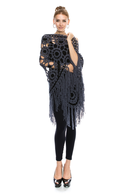 HAND KNITTED PONCHO CAPE - orangeshine.com