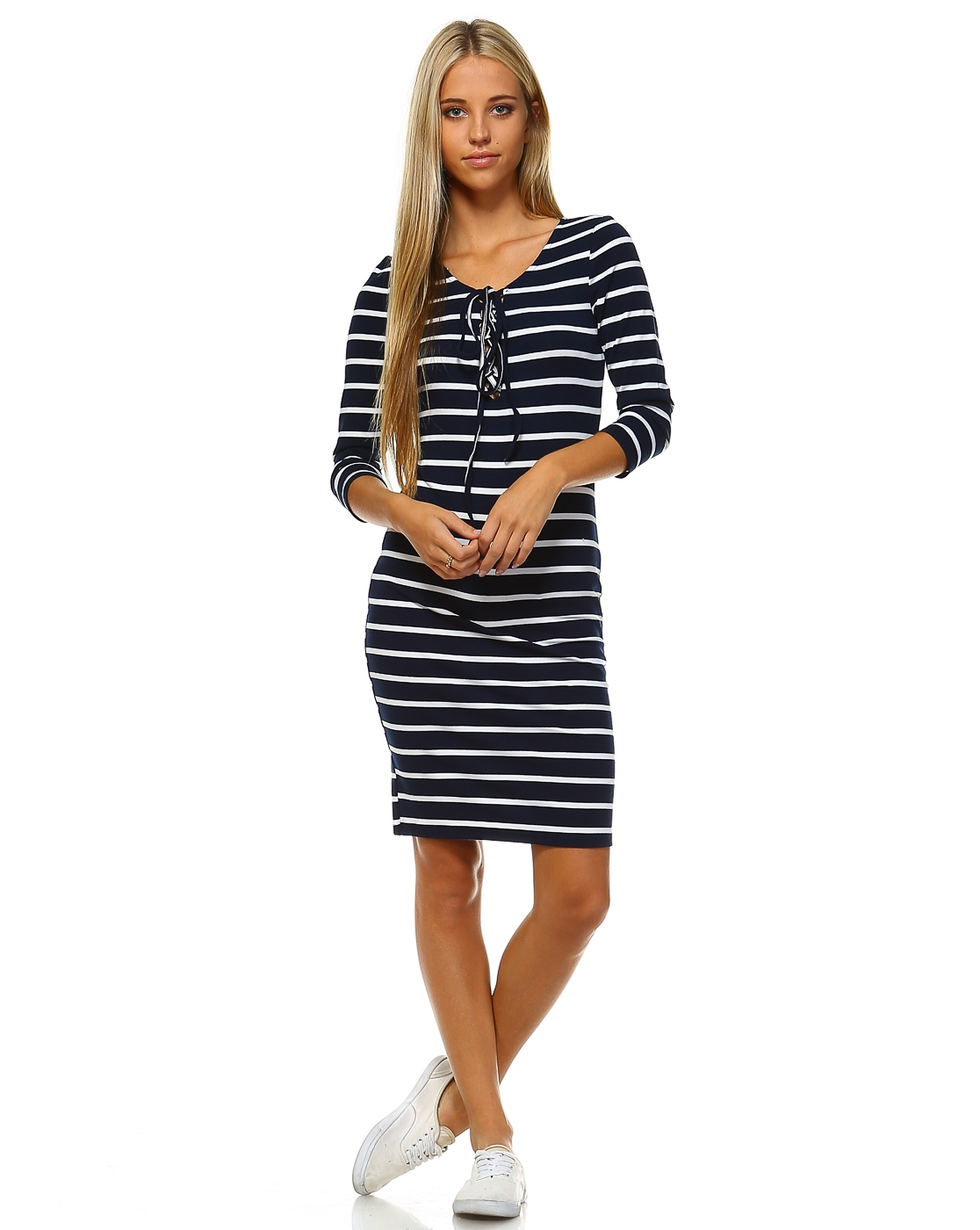 FRONT TIE STRIPED BODY CON DRESS - orangeshine.com