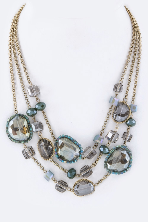 Crystals & Mix Beads Layer Necklace - orangeshine.com