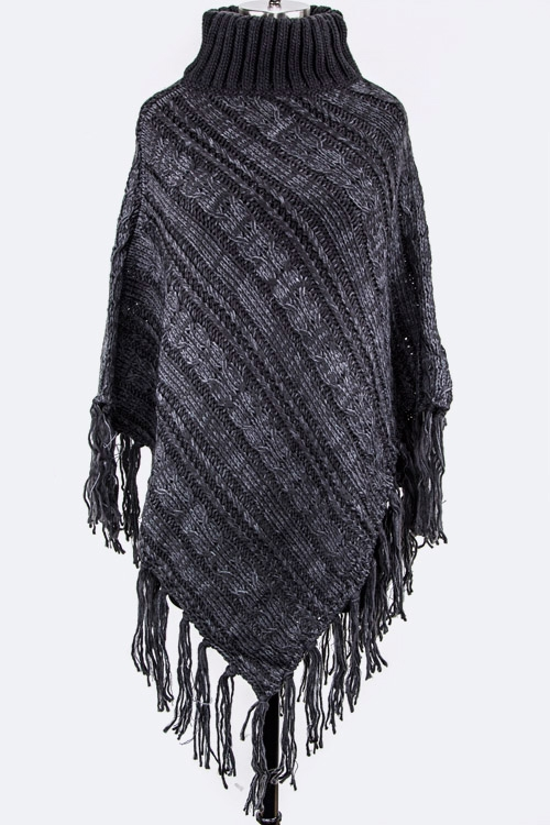 Oblique Knit Turtle Poncho - orangeshine.com