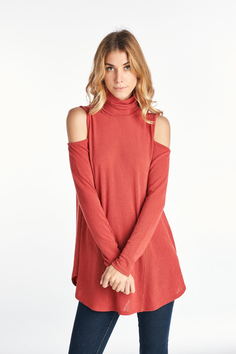Turtle Neckline Cold Shoulder Top - orangeshine.com