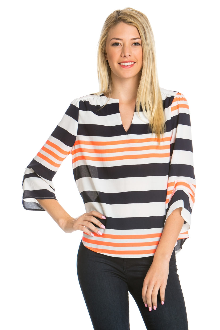 STRIPE PRINT CURVED V NECK TOP - orangeshine.com