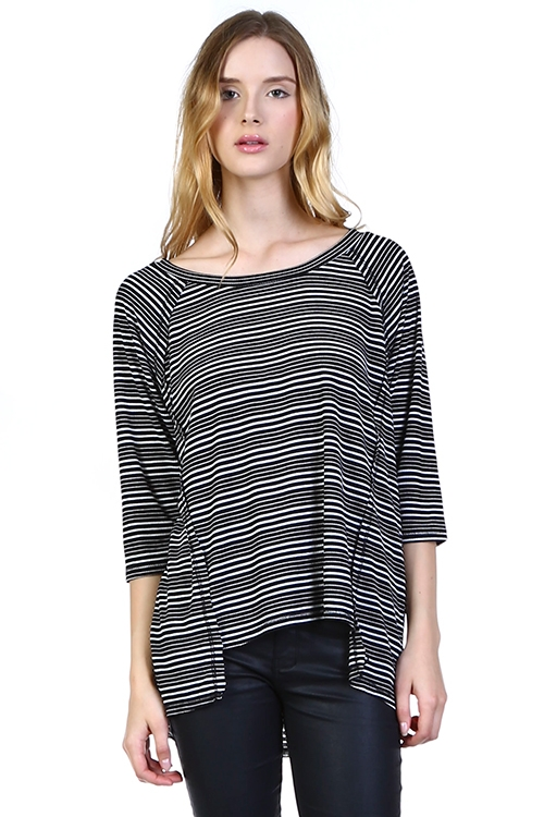 "STRIPE 3/4"" SLEEVE TOP - orangeshine.com"