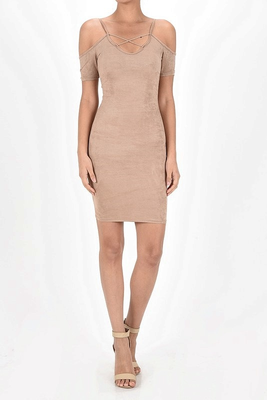 PLAIN SUEDE CAGE COLD SHOULDER DRESS - orangeshine.com