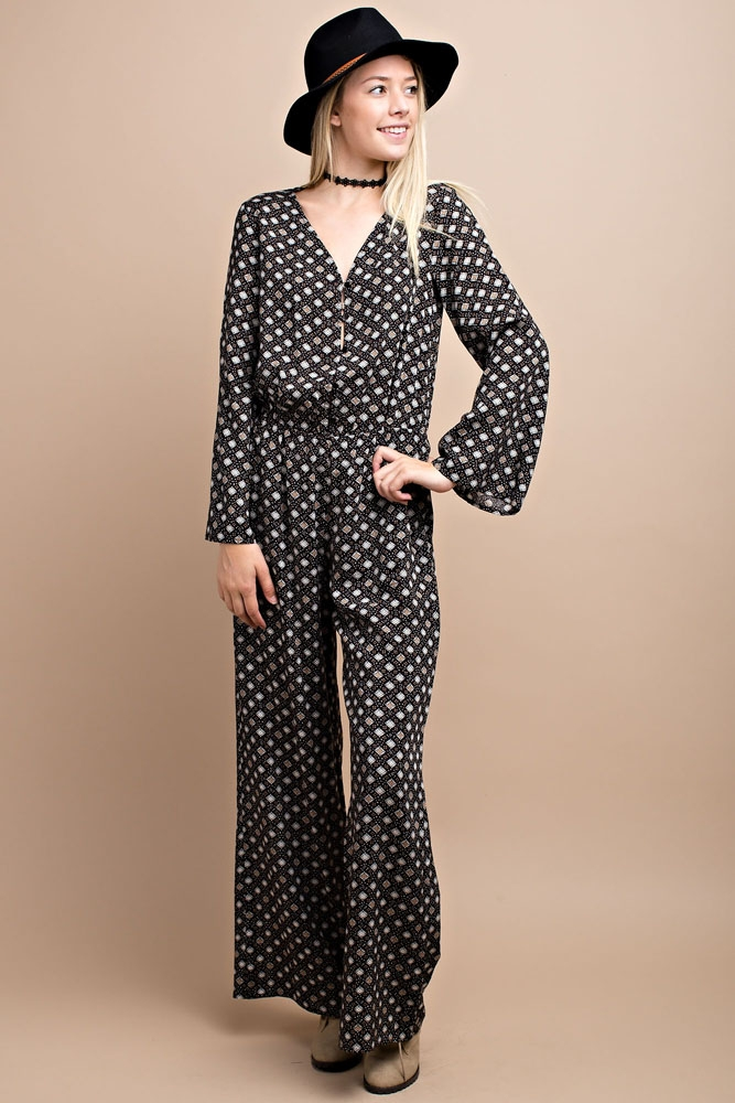 FALL BUTTON DOWN LONG JUMPSUIT - orangeshine.com