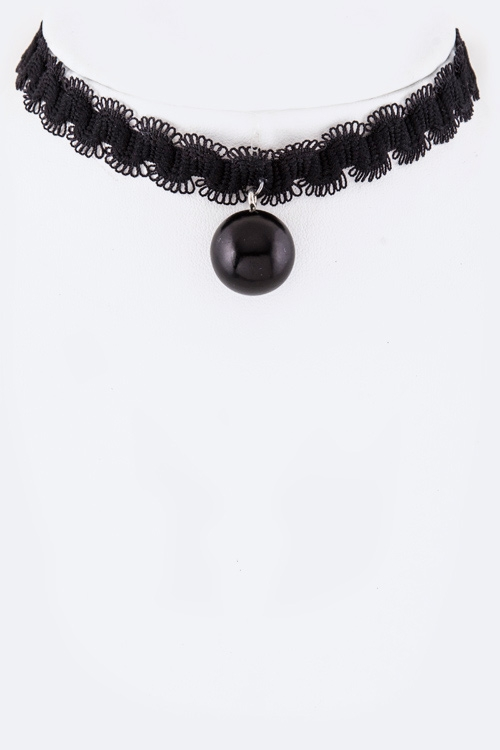 Pearl Charm Lace Choker Necklace - orangeshine.com