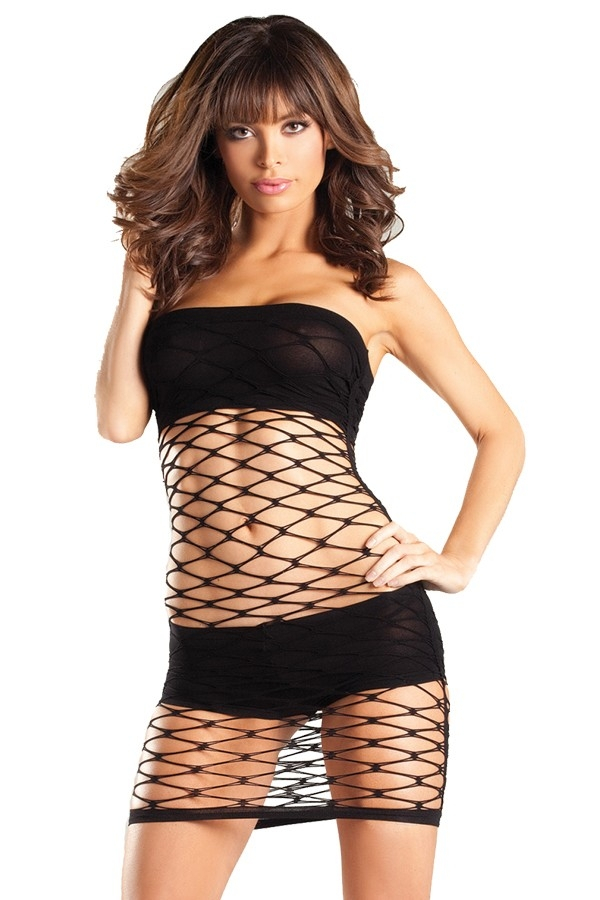 Wide Fence Net Tube Dress - orangeshine.com