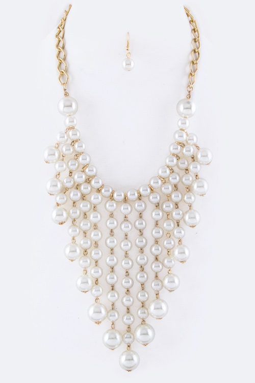 Fringe Pearls Statement Necklace Set - orangeshine.com