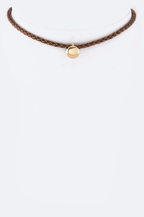 Braid Leather & Metal Slider Choker  - orangeshine.com