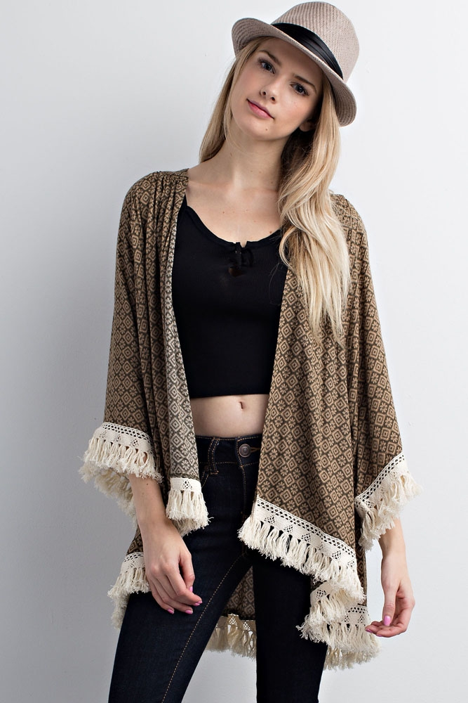 Print Detailed Cardigan With Tassels - orangeshine.com
