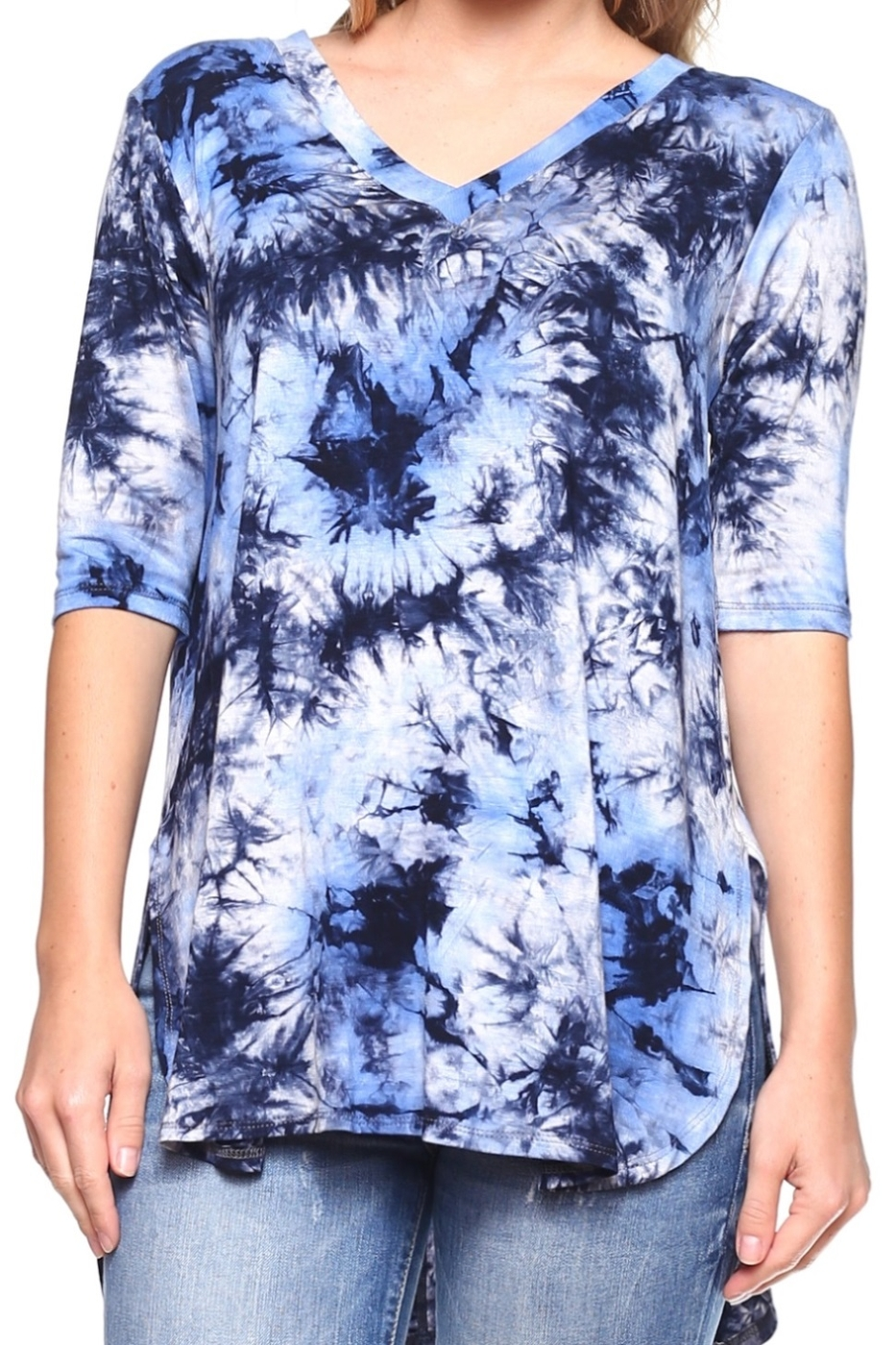 SHORT SLEEVE TIE DYE V-NECK TOP - orangeshine.com
