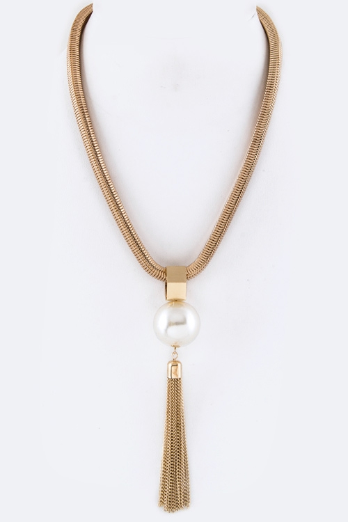 Pearl Tassel Necklace - orangeshine.com
