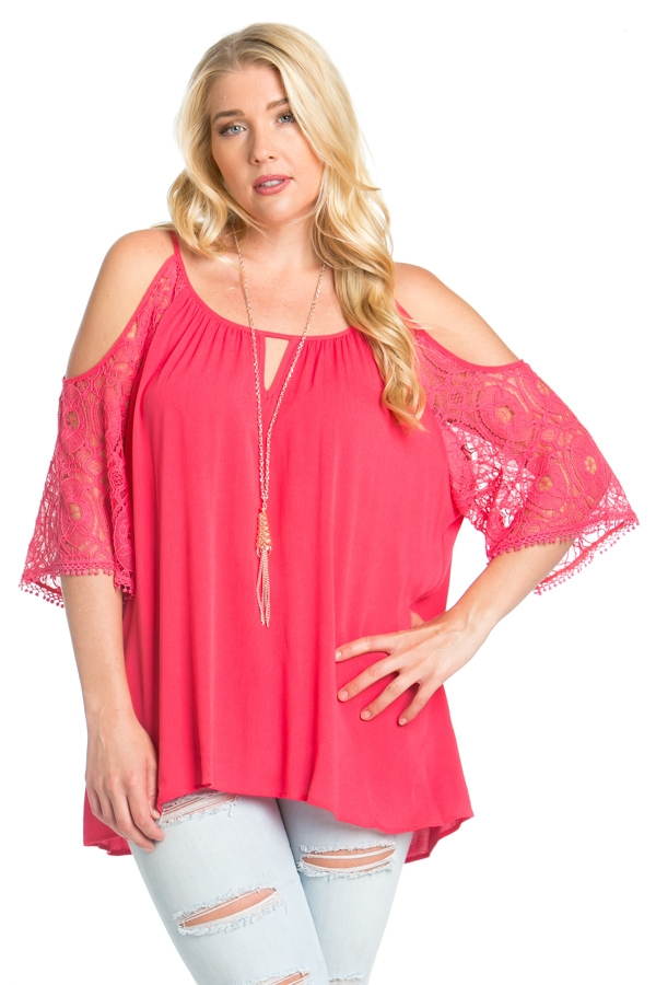 CROCHET LACE CAP SLEEVE TOP - orangeshine.com