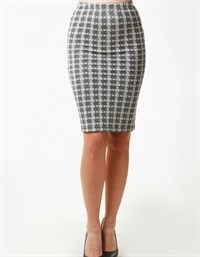MINI DAISY CHECKER PATTERN MIDI SKIR - orangeshine.com