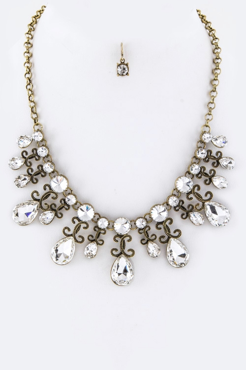 Crystal Teardrops Statement Necklace - orangeshine.com