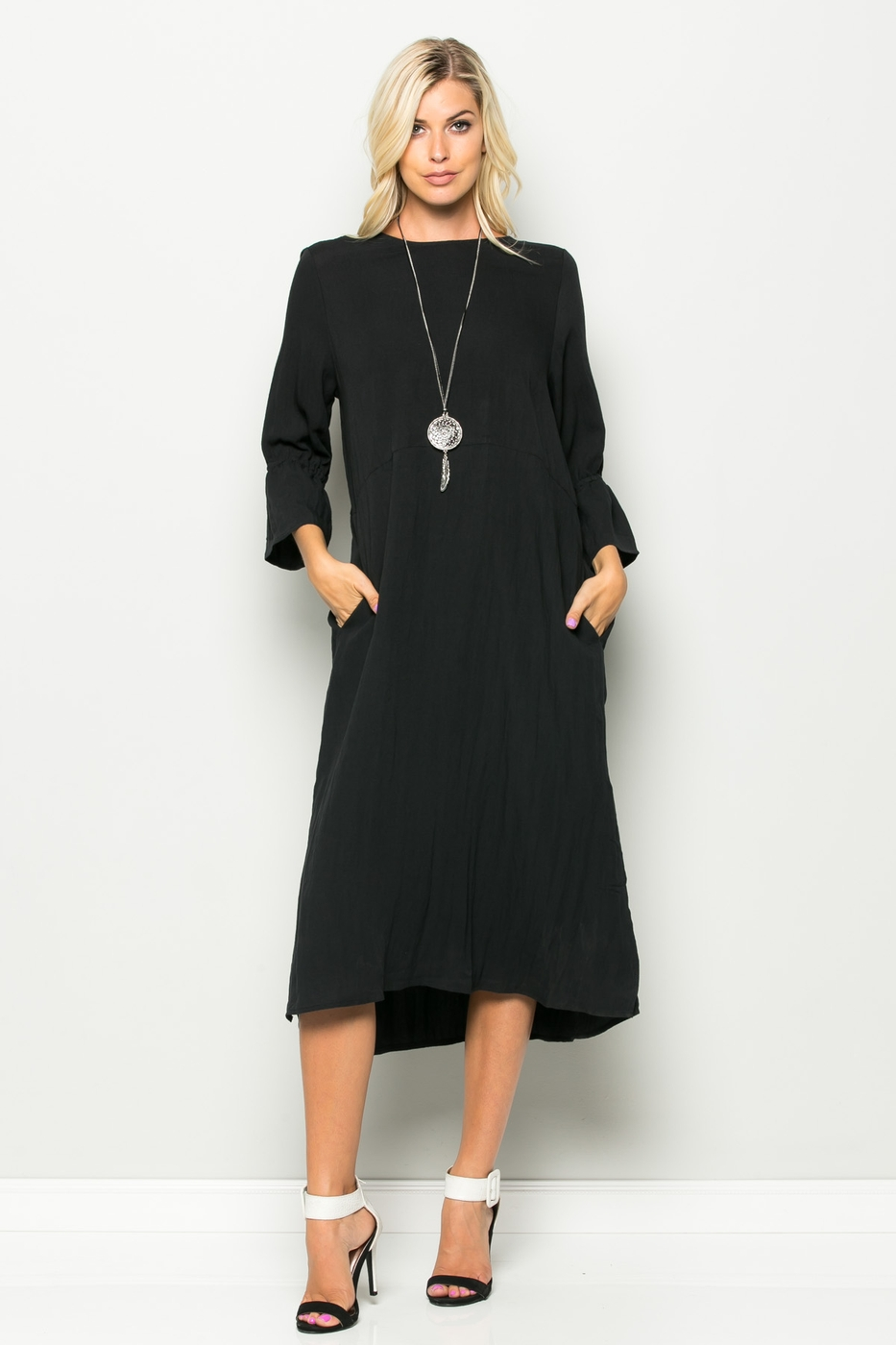 BELL SLEEVE LONG SHIRT DRESS - orangeshine.com