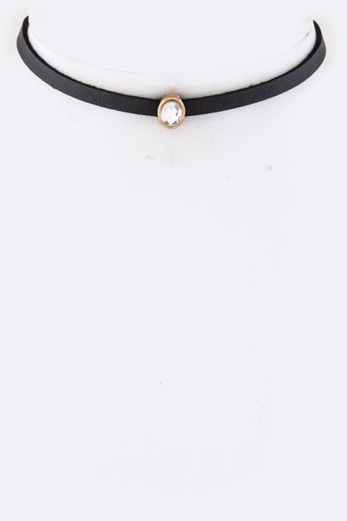 Crystal Slider Choker Necklace - orangeshine.com