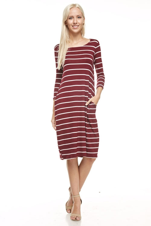 round neck striped midi dress - orangeshine.com