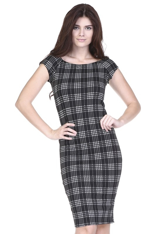 CHECKERED PRINT DRESS - orangeshine.com