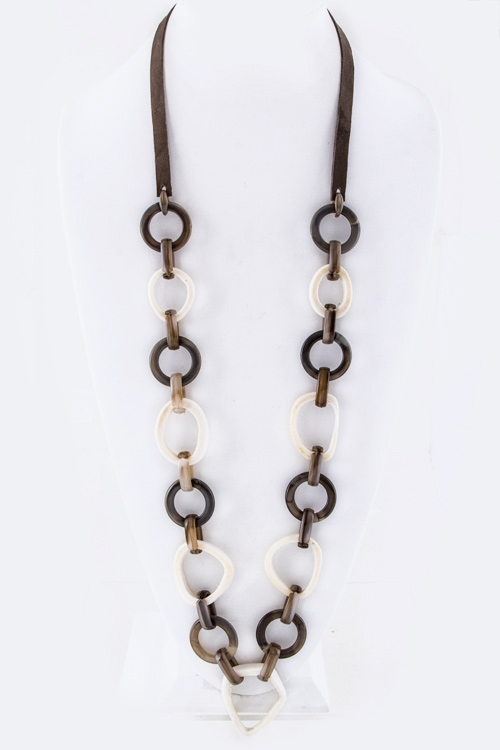 Mix Hoops Of Horn Long Necklace - orangeshine.com