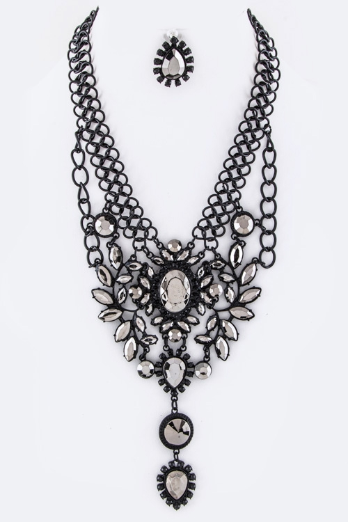 Crystal Flower Bib Necklace Set - orangeshine.com