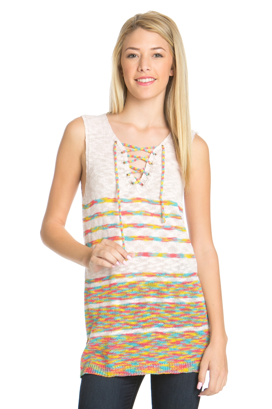 KNITTED MULTI BLOCKS SLEEVELESS TOP - orangeshine.com