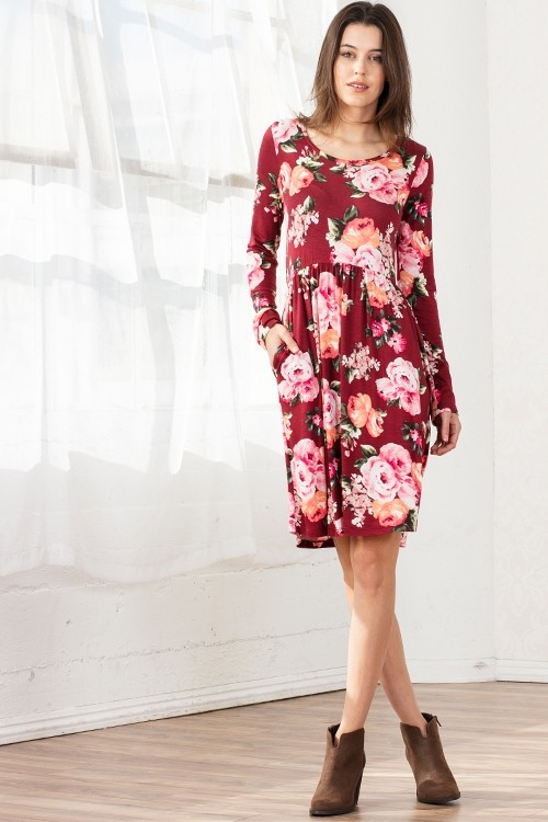 FLORAL PRINTING DRESS WITH SIDE POCK - orangeshine.com