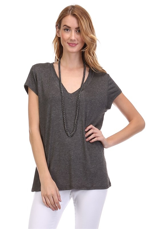 SOLID V-NECK LOOSE FIT TOP - orangeshine.com