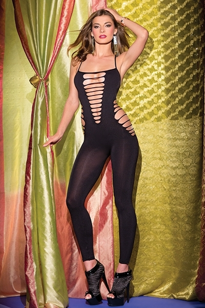Bodysuit with front and side cutouts - orangeshine.com