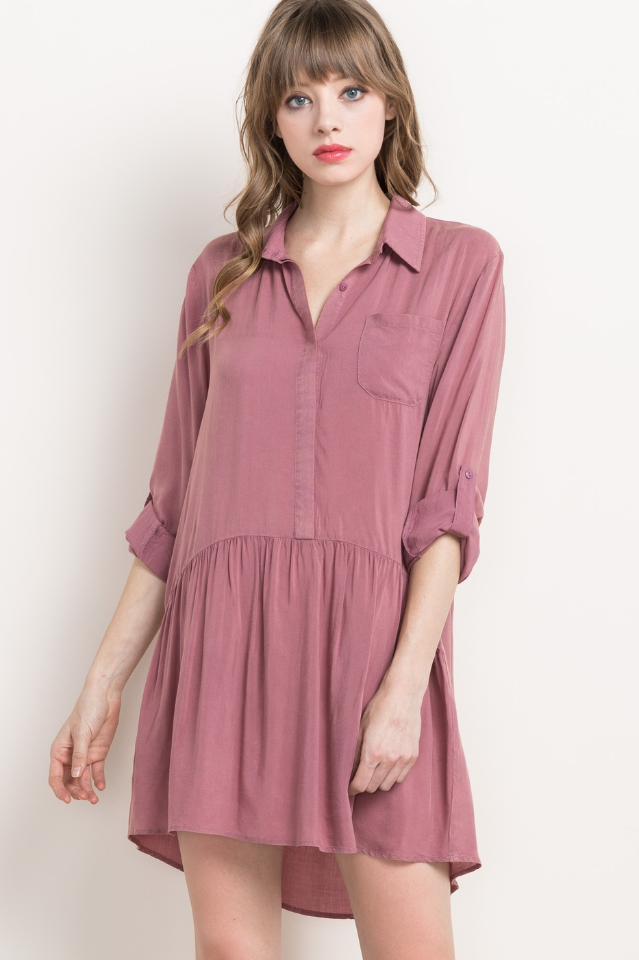 SNOW WASH BUTTON TAB SHIRT DRESS - orangeshine.com