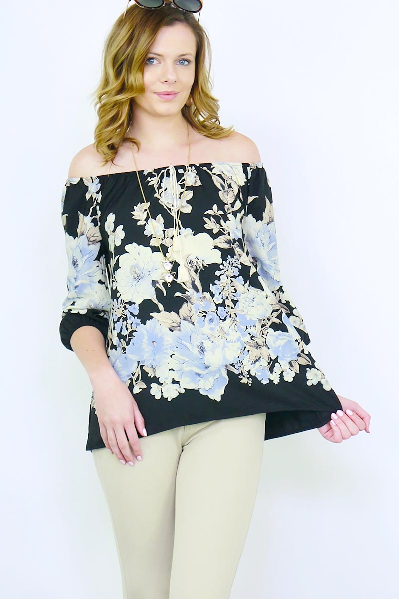 OFF SHOULDER WOOL PEACH PRINT TOP - orangeshine.com