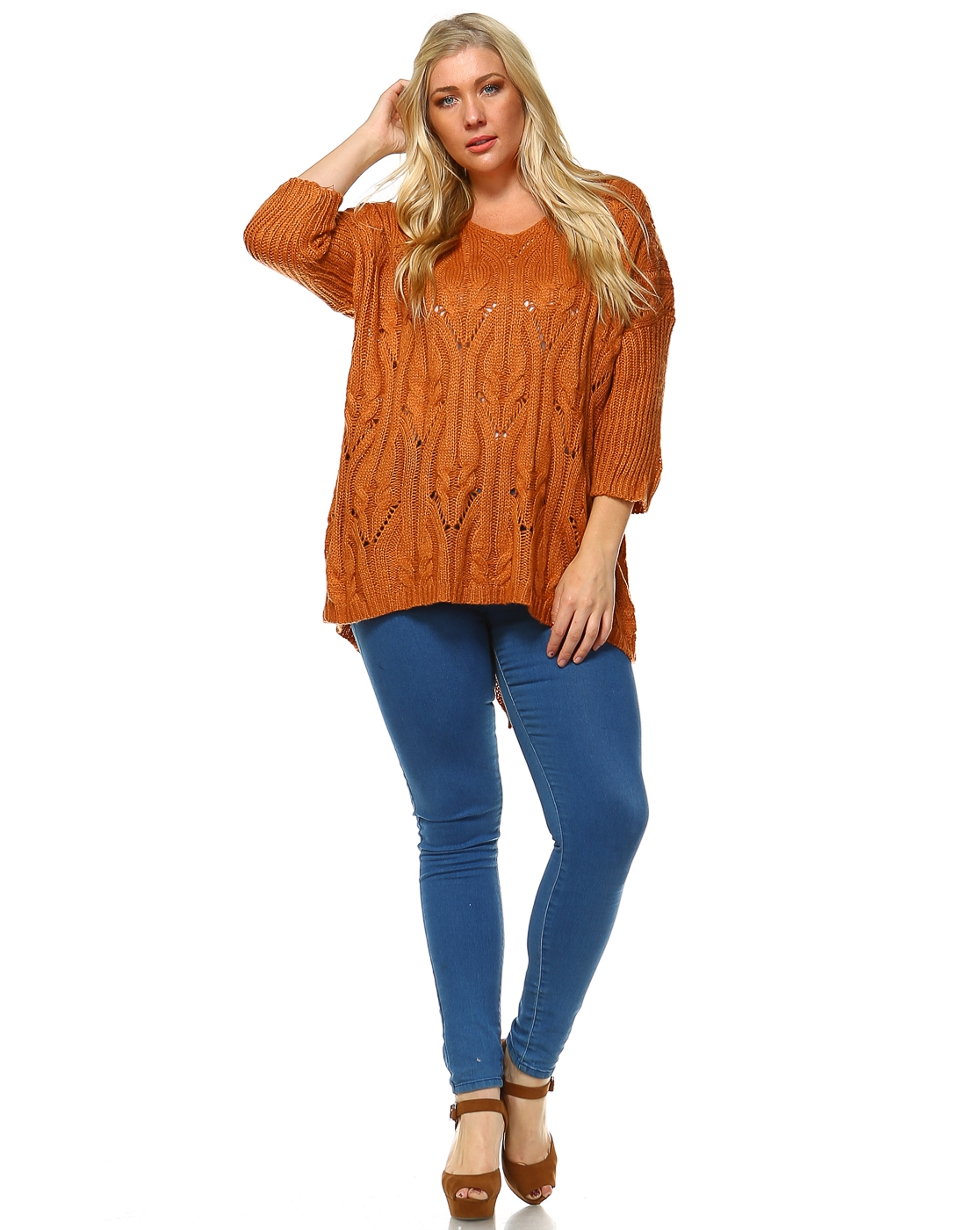 -Pullover Over-sized Knit Sweater - - orangeshine.com