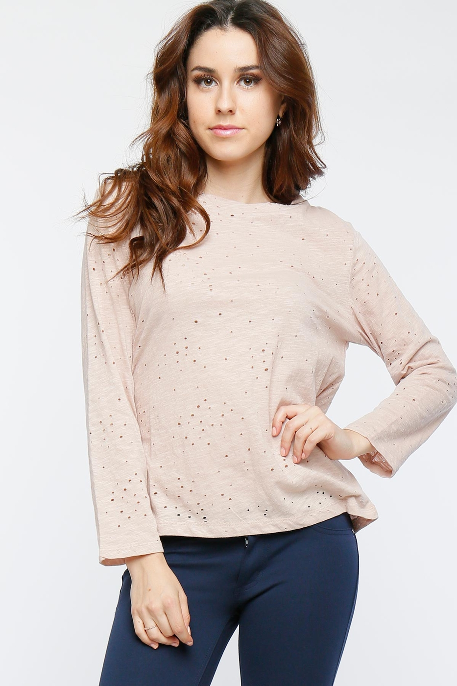 Distressed Knit Slub Top - orangeshine.com