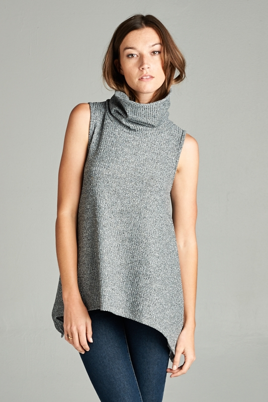SLEEVE LESS MOCK NECK RIB TOP - orangeshine.com