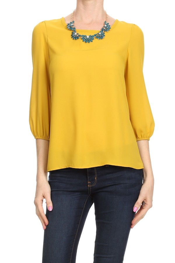 Solid TOP w Necklace - orangeshine.com