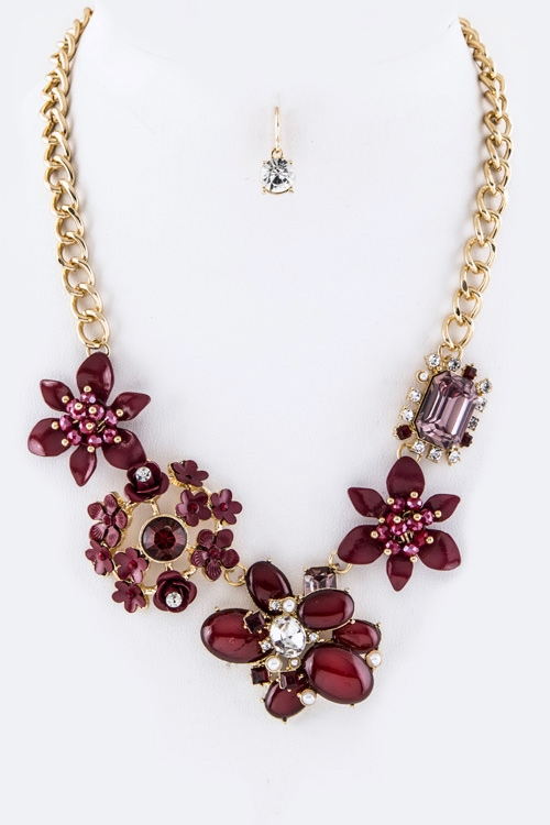 Mix Flowers Statement Necklace Set - orangeshine.com