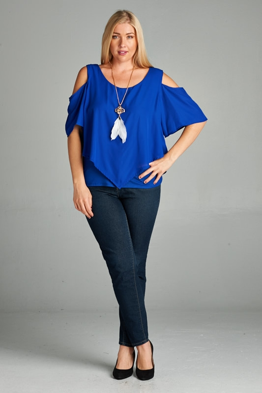 COLD SHOULDER DOUBLE LAYER PLUS TOP - orangeshine.com
