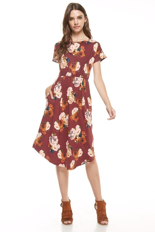 floral flared dress  - orangeshine.com