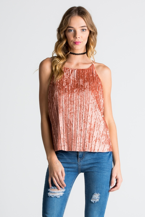 CRUSH VELVET PLEATED TOP WITH LINING - orangeshine.com