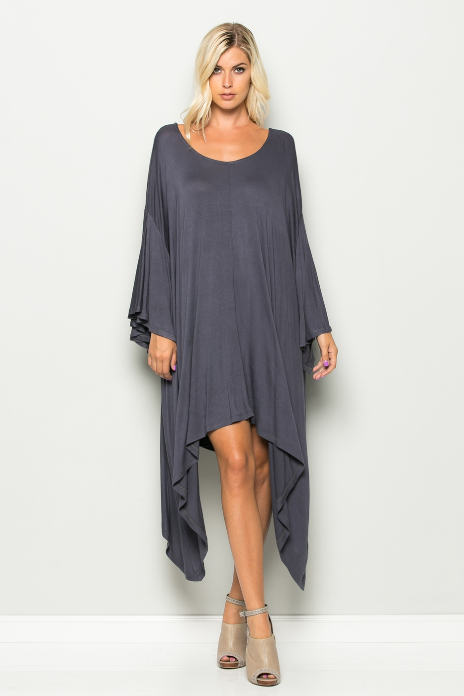 Ruffle Wide Sleeve Dress - orangeshine.com